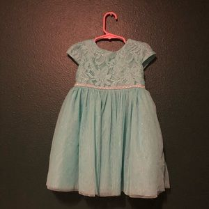 Teal dress with sparkles and rhinestones